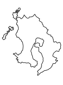 鹿兒島縣地圖線畫鹿兒島