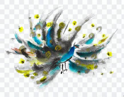 Ink painting series peacock