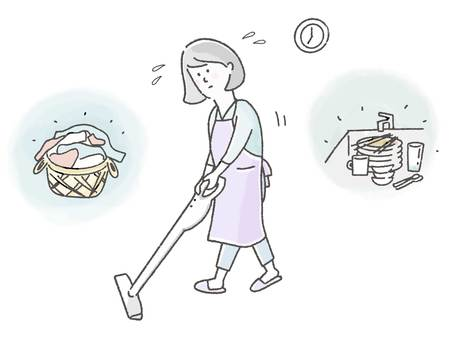 Housewife busy with housework