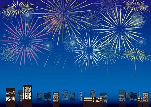 Skyscraper and fireworks 4