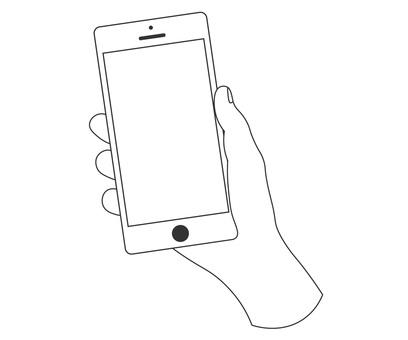 與智能手機的手剪影