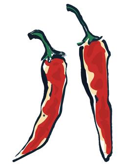 用手繪筆劃的蔬菜辣椒