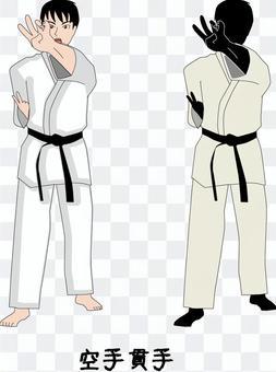 Karate martial arts male player piercing finger