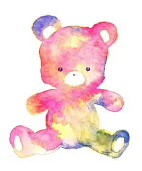 彩虹泰迪熊手繪水彩毛絨玩具