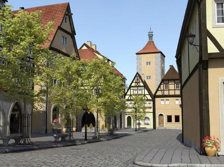 A scenery of a medieval building style city of fine weather