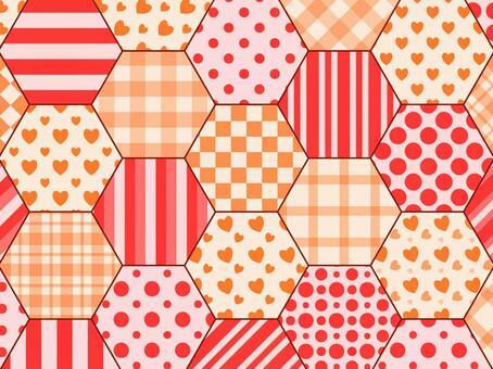六角拼布紅色x橙色