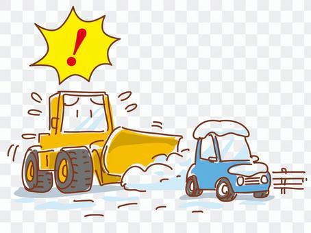 除雪の邪魔をする路上駐車