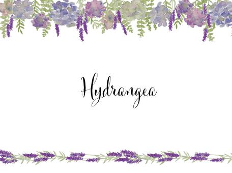秋色繡球花和薰衣草水彩畫框