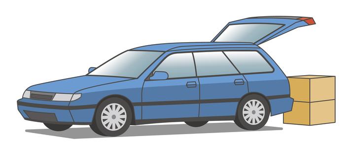 Car Station Wagon Blue Car Luggage
