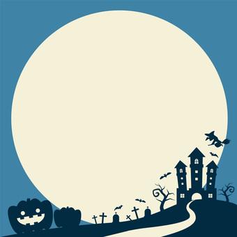 Halloween night silhouette square frame