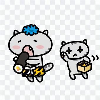 Cats eating Ehumaki 2