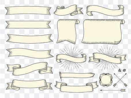 復古絲帶框架/ png字符