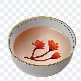 鹽漬櫻花盛開的輸液
