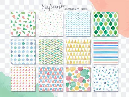 Hand drawn watercolor geometric pattern set
