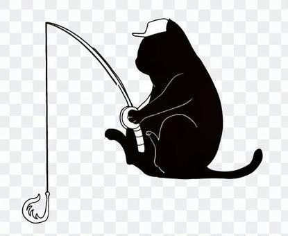 黑貓剪影釣魚
