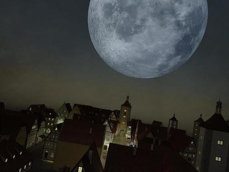 Huge moon night of medieval magic country