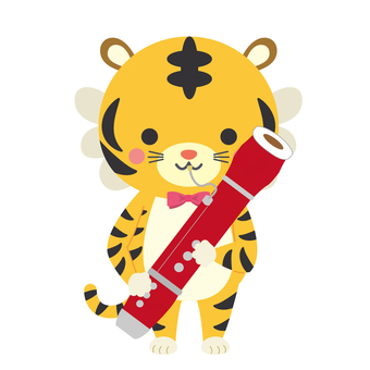 Tiger New Year's card! Bassoon-blown tiger