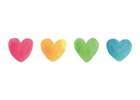 水彩多彩的心圖