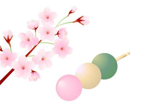 三色餃子和櫻花的插圖
