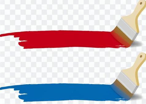 油漆和油漆刷(紅色和藍色)