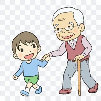 Walk with grandson