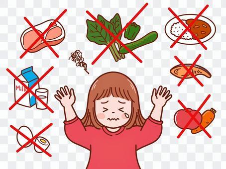 食べ物を拒否する子供