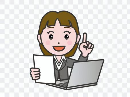 弐_パソコン165_スーツ女性書類