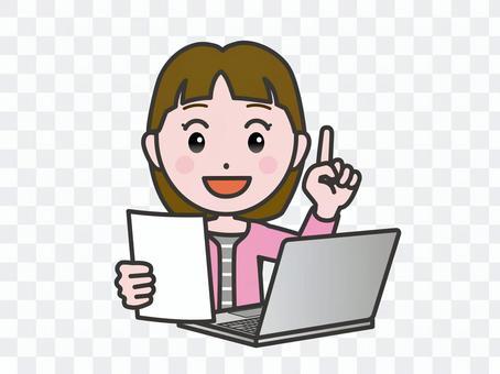 弐_パソコン160_私服女性書類