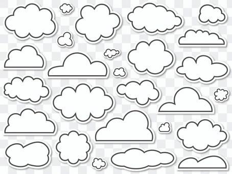 各種雲(貼紙風格)