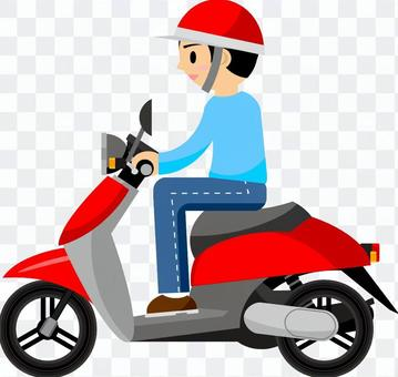 A person riding a scooter
