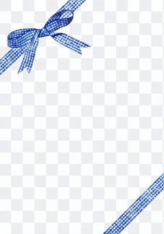 藍色檢查絲帶水彩圖片·對角峭壁·垂直