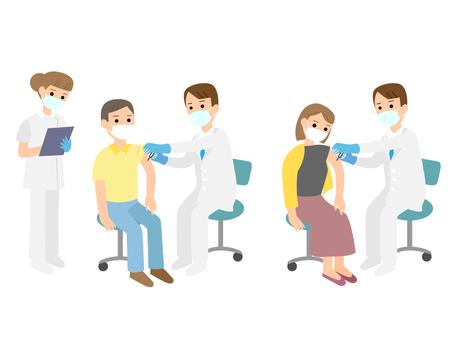 接種疫苗的醫生和患者