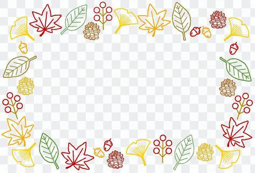 秋の葉や木の実のワイヤーフレーム