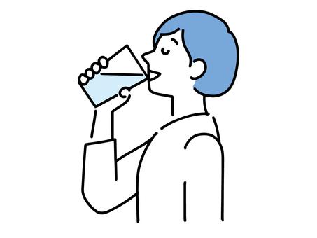 喝一杯水的女人