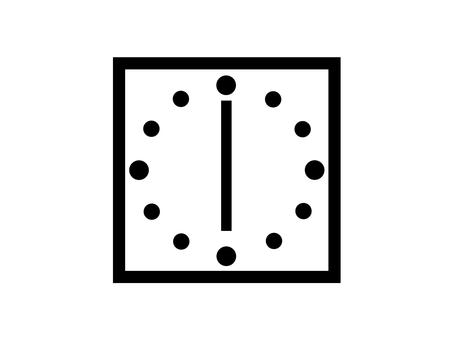 時鐘 6 點鐘剪影廣場