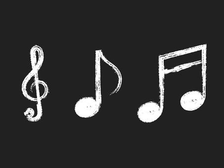 Handwritten treble clef & note set: brush x white