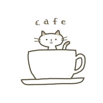 咖啡杯和貓(帶字母)