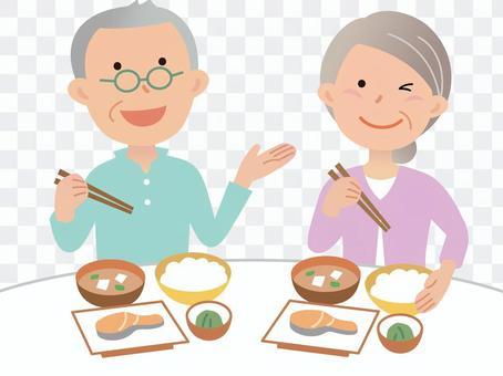 年長的夫婦,用餐