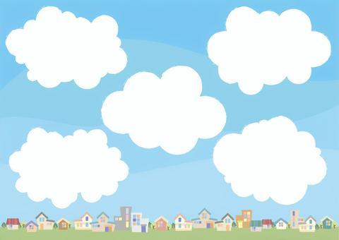 城鎮,天空和雲彩