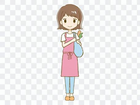 我的書包的圍裙女人