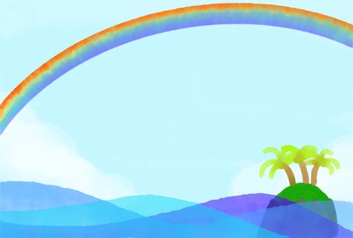 大海和彩虹的插圖