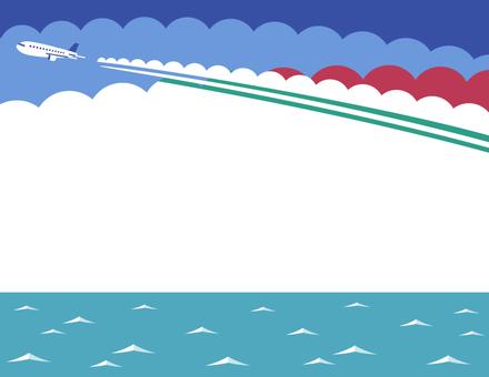 飛行雲和海框架(紅色)