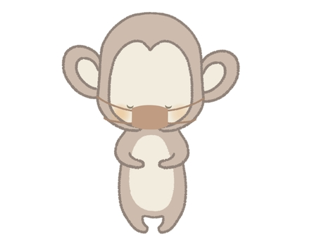 There is a monkey illustration line that bows with a mask