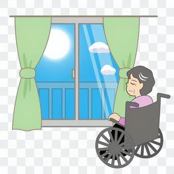 Nursing care (elderly / women in wheelchairs sunbathing)