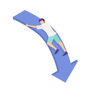 一個人緊緊抓住向下傾斜的箭頭