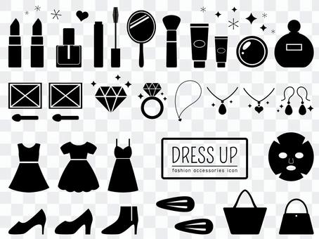 Set of cosmetics and trendy silhouettes