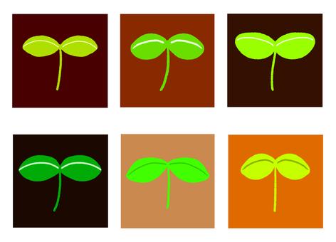 먼지에 비유 한 사각형과 귀여운 떡잎 잎들
