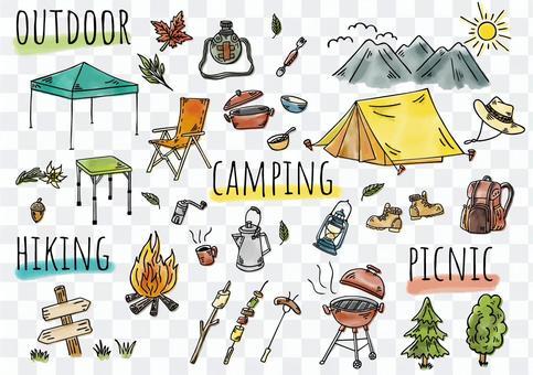 手繪插圖:露營顏色