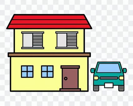 Illustration of a red roof house and a green car