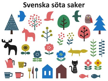 Scandinavian colorful cute icon set